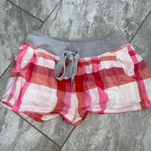 Aerie Pink Plaid Pajama Shorts